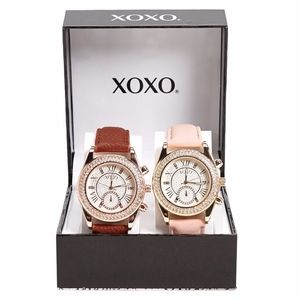 Xoxo pave crystal faux leather watch 2 pieces set